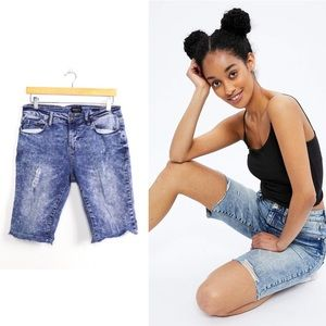 Bluenotes denim skinny fit biker shorts marble 30